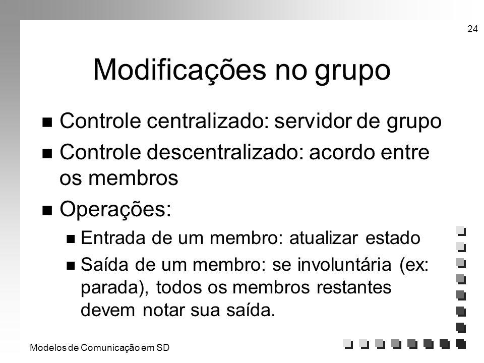 Modelos de Comunicação em SD 24 Modificações no grupo n Controle centralizado: servidor de grupo n Controle descentralizado: acordo entre os membros n