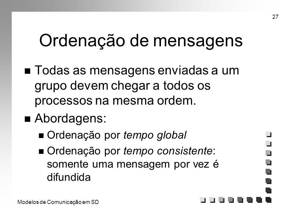 Modelos de Comunicação em SD 27 Ordenação de mensagens n Todas as mensagens enviadas a um grupo devem chegar a todos os processos na mesma ordem. n Ab