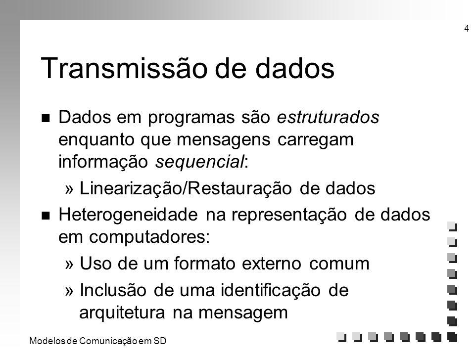 Modelos de Comunicação em SD 4 Transmissão de dados n Dados em programas são estruturados enquanto que mensagens carregam informação sequencial: » Lin