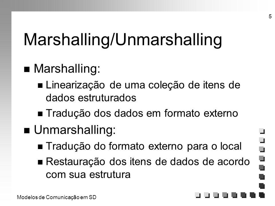 Modelos de Comunicação em SD 5 Marshalling/Unmarshalling n Marshalling: n Linearização de uma coleção de itens de dados estruturados n Tradução dos da