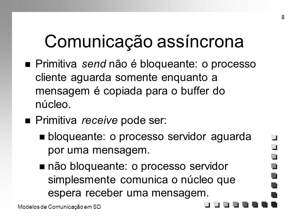 Modelos de Comunicação em SD 8 Comunicação assíncrona n Primitiva send não é bloqueante: o processo cliente aguarda somente enquanto a mensagem é copi