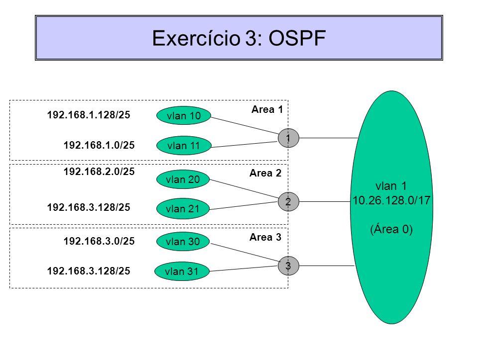 Exercício 3: OSPF vlan 11 vlan 1 10.26.128.0/17 (Área 0) 1 vlan 10 192.168.1.0/25 192.168.1.128/25 vlan 20 2 vlan 21 192.168.2.0/25 192.168.3.128/25 A