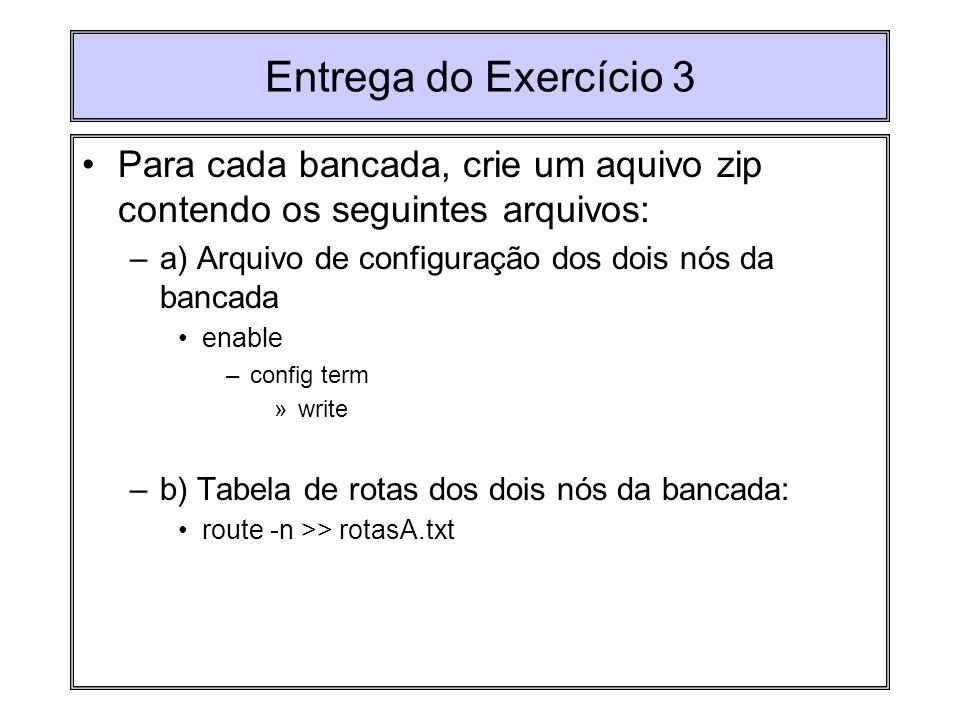 Entrega do Exercício 3 Para cada bancada, crie um aquivo zip contendo os seguintes arquivos: –a) Arquivo de configuração dos dois nós da bancada enabl