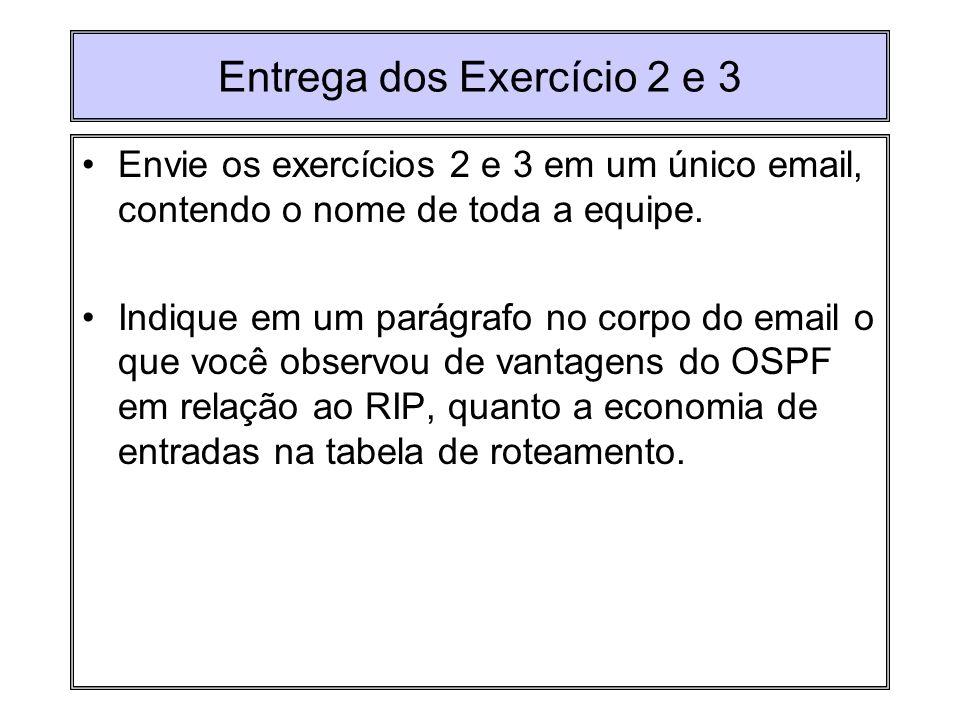 Entrega dos Exercício 2 e 3 Envie os exercícios 2 e 3 em um único email, contendo o nome de toda a equipe. Indique em um parágrafo no corpo do email o