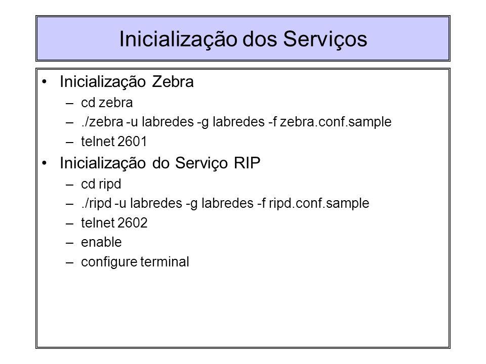 Inicialização dos Serviços Inicialização Zebra –cd zebra –./zebra -u labredes -g labredes -f zebra.conf.sample –telnet 2601 Inicialização do Serviço R