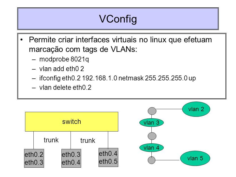 VConfig Permite criar interfaces virtuais no linux que efetuam marcação com tags de VLANs: –modprobe 8021q –vlan add eth0 2 –ifconfig eth0.2 192.168.1