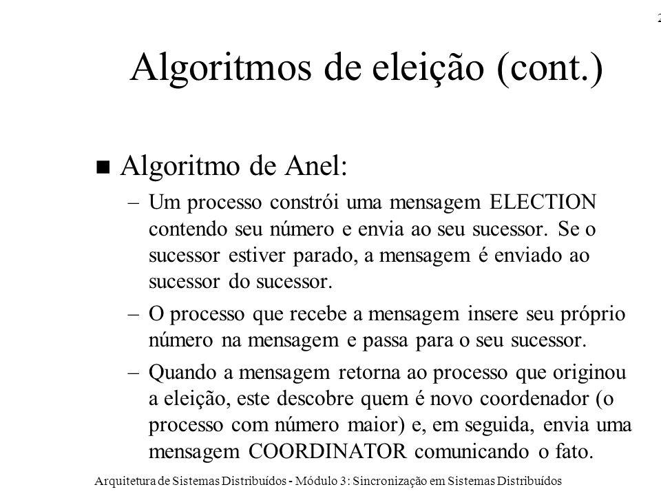 Arquitetura de Sistemas Distribuídos - Módulo 3: Sincronização em Sistemas Distribuídos 26 Algoritmos de eleição (cont.) Algoritmo de Anel: –Um processo constrói uma mensagem ELECTION contendo seu número e envia ao seu sucessor.