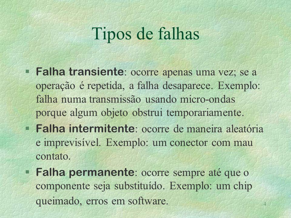 4 Tipos de falhas Falha transiente : ocorre apenas uma vez; se a operação é repetida, a falha desaparece. Exemplo: falha numa transmissão usando micro