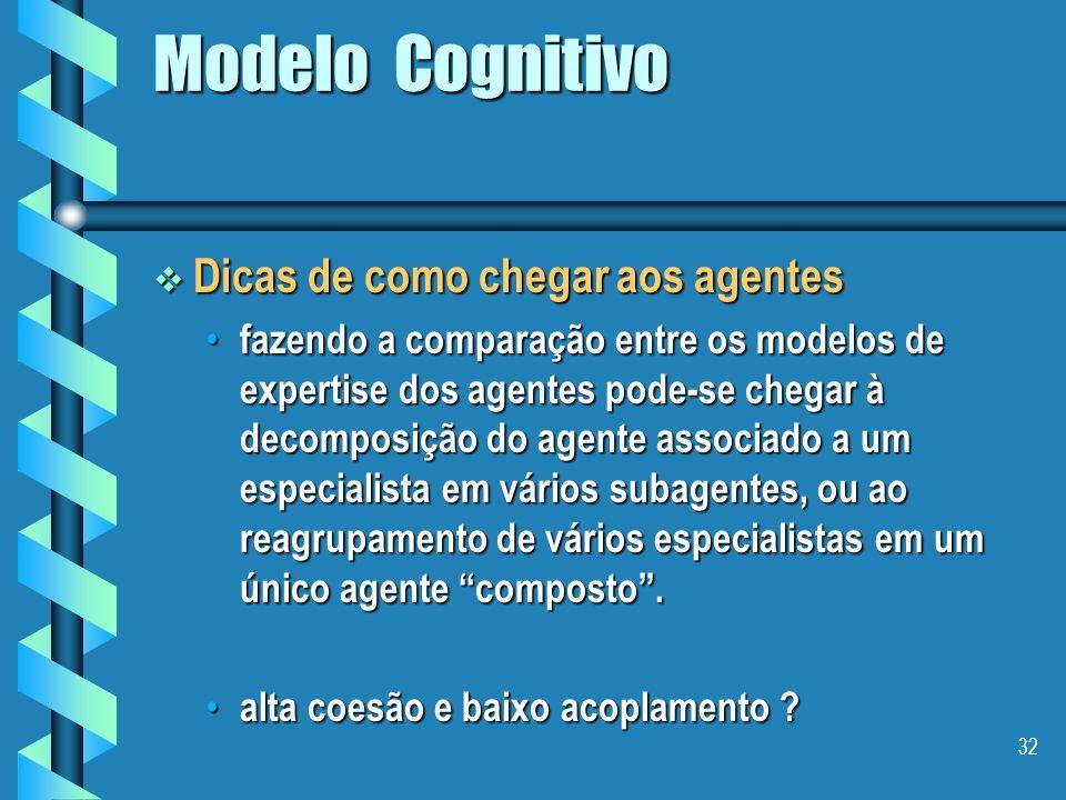 31 Modelo Cognitivo Pode-se adotar: Pode-se adotar: uma abordagem ascendente, uma abordagem ascendente, – construção de agentes simples e na seqüência