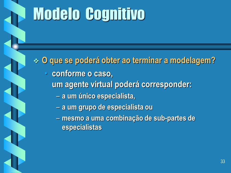 32 Modelo Cognitivo Dicas de como chegar aos agentes Dicas de como chegar aos agentes fazendo a comparação entre os modelos de expertise dos agentes p