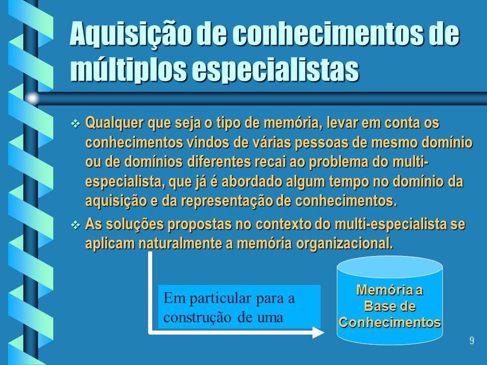 8 Aquisição de conhecimentos de múltiplos especialistas Distingue-se dois tipos de memória para a gestão de múltiplos pontos de vista: Distingue-se do