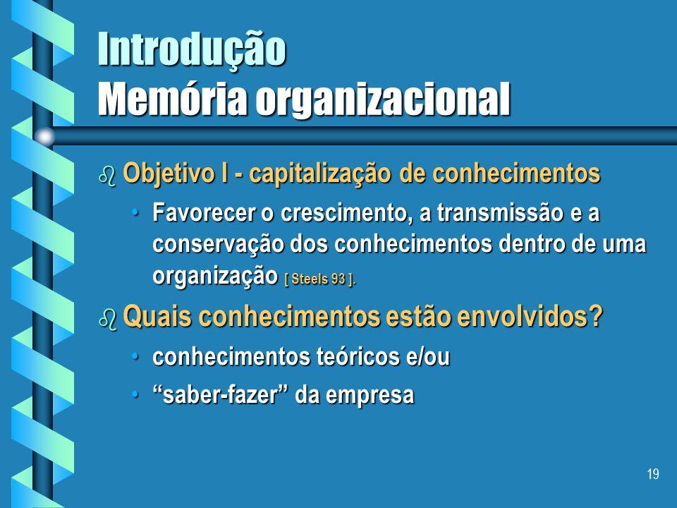 18 Introdução Memória organizacional b Por que uma memória organizacional ? O compartilhamento do trabalho necessita de um compartilhamento de conheci