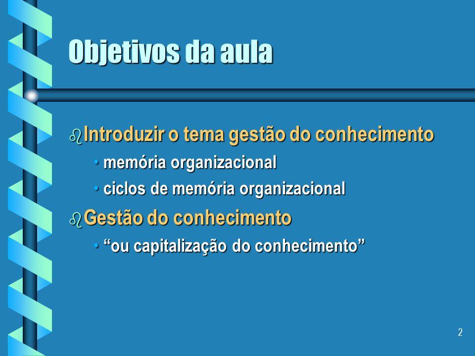2 Objetivos da aula b Introduzir o tema gestão do conhecimento memória organizacional memória organizacional ciclos de memória organizacional ciclos de memória organizacional b Gestão do conhecimento ou capitalização do conhecimento ou capitalização do conhecimento