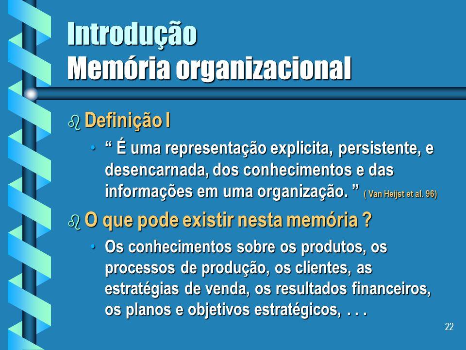 21 Introdução Memória organizacional b Capitalização de conhecimentos É um problema bastante complexo, que envolve diferentes pontos de vista: É um problema bastante complexo, que envolve diferentes pontos de vista: – sócio-organizacional – econômico – financeiro – técnico – humano e – legal