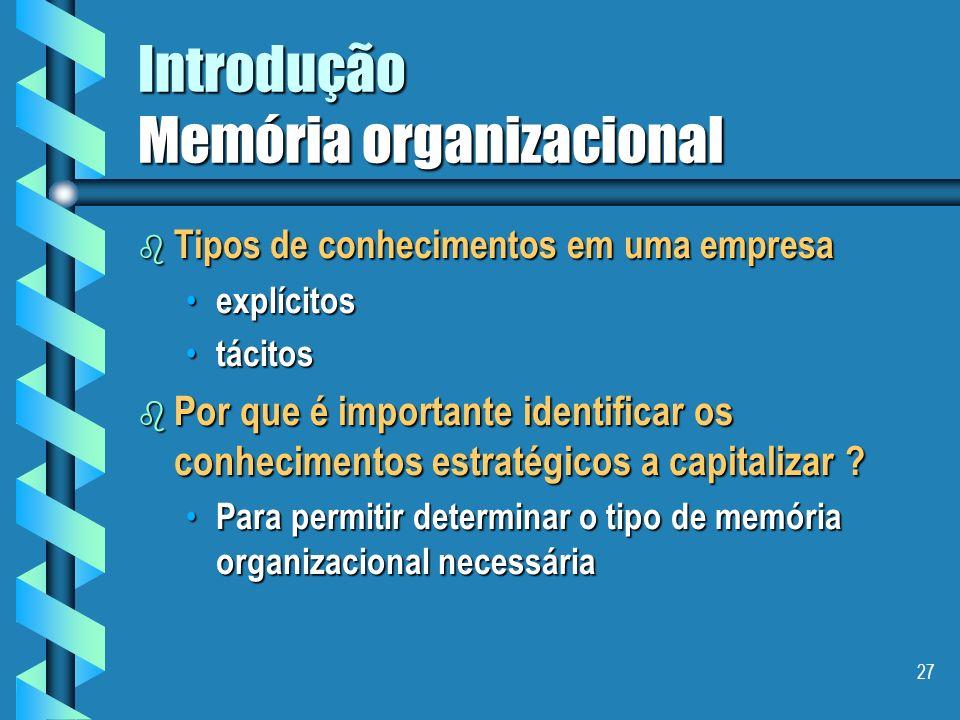 26 Introdução Memória organizacional b Objetivo III - capitalização de conhecimentos Coletivizar os conhecimentos, capitalizar as experiências e ampli