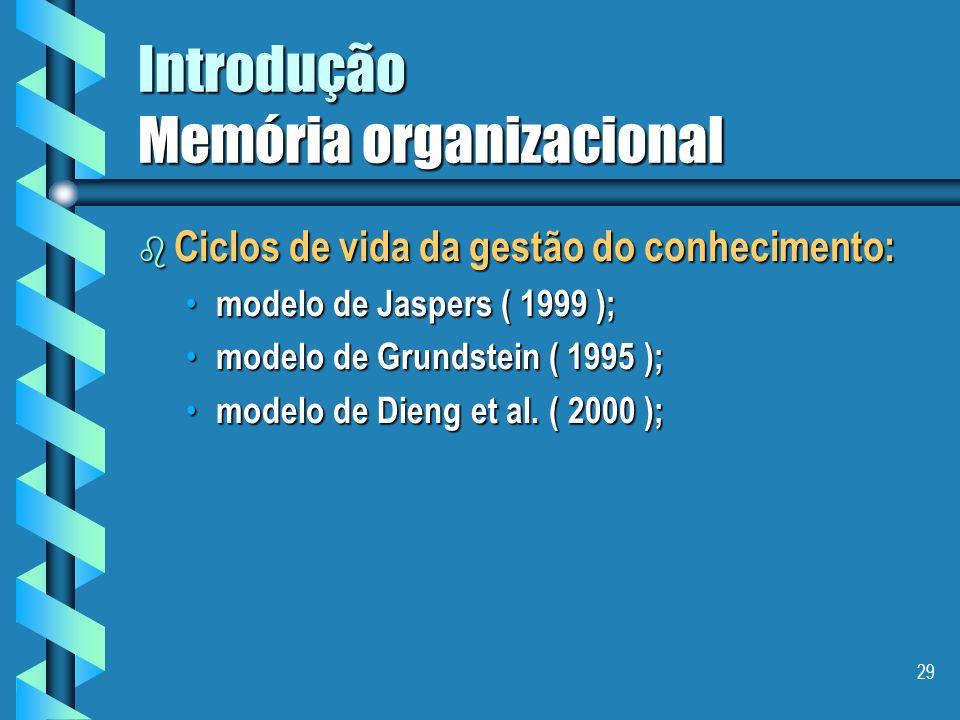 28 Introdução Memória organizacional b Conclusão I uma memória organizacional deveria fornecer o bom conhecimento ou informação à pessoa certa no mome