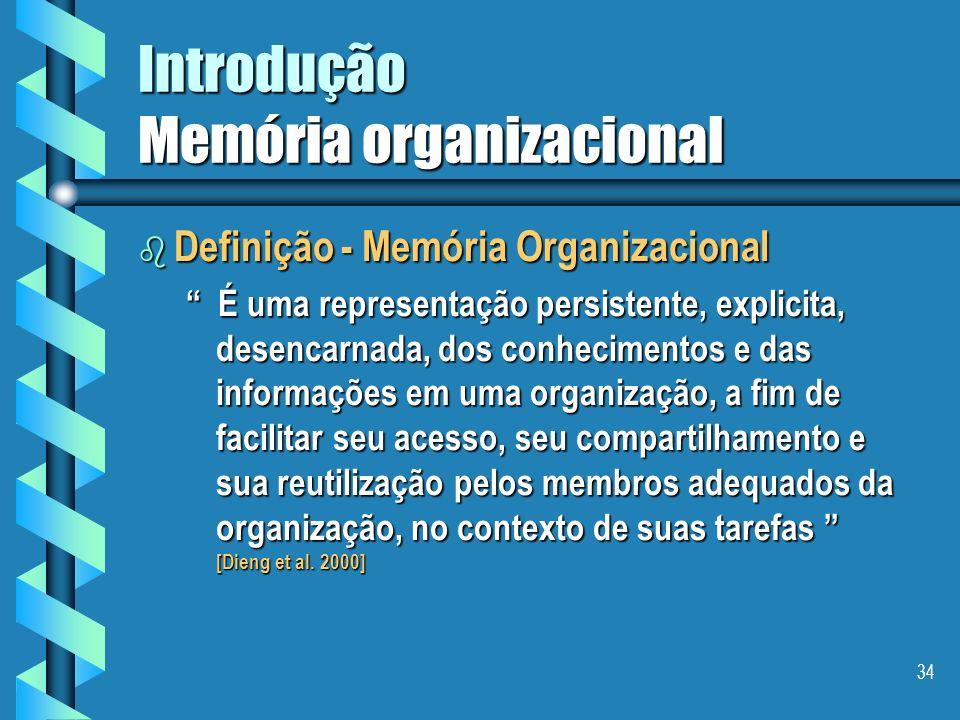 33 Introdução Memória organizacional b As setes etapas da cadeia de valorização dos conhecimentos são: fazer um levantamento dos conhecimentos existen