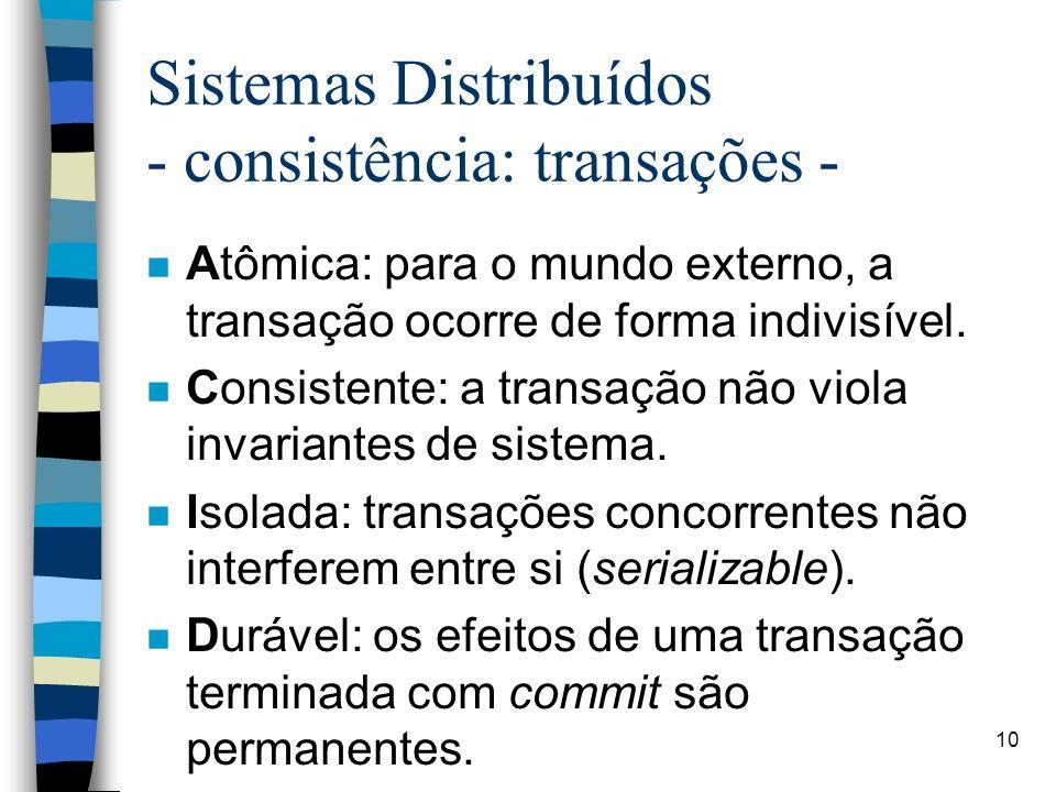 10 Sistemas Distribuídos - consistência: transações - n Atômica: para o mundo externo, a transação ocorre de forma indivisível.