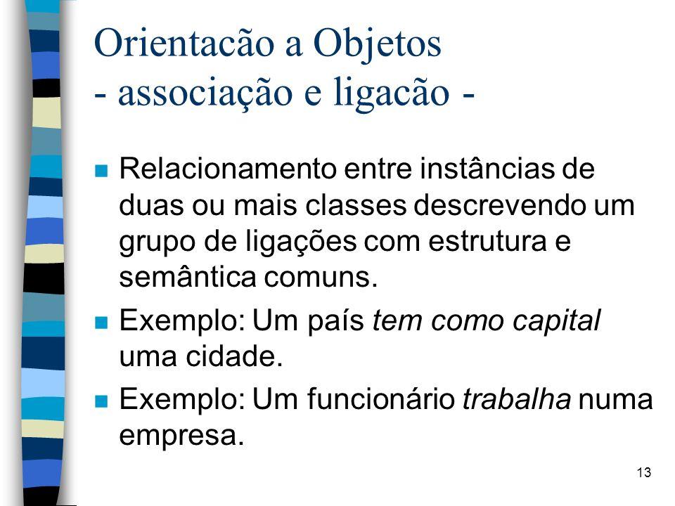 13 Orientacão a Objetos - associação e ligacão - n Relacionamento entre instâncias de duas ou mais classes descrevendo um grupo de ligações com estrutura e semântica comuns.