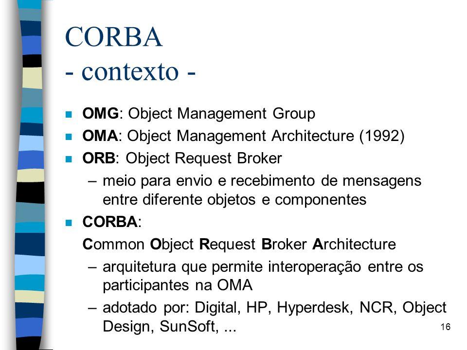16 CORBA - contexto - n OMG: Object Management Group n OMA: Object Management Architecture (1992) n ORB: Object Request Broker –meio para envio e recebimento de mensagens entre diferente objetos e componentes n CORBA: Common Object Request Broker Architecture –arquitetura que permite interoperação entre os participantes na OMA –adotado por: Digital, HP, Hyperdesk, NCR, Object Design, SunSoft,...