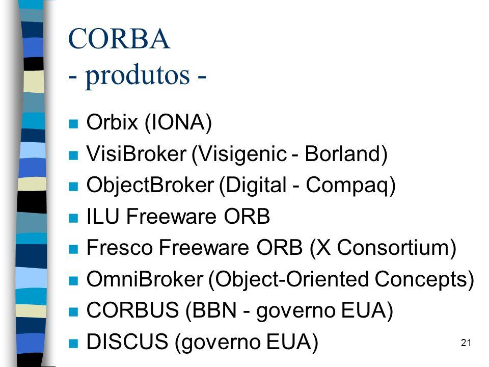 21 CORBA - produtos - n Orbix (IONA) n VisiBroker (Visigenic - Borland) n ObjectBroker (Digital - Compaq) n ILU Freeware ORB n Fresco Freeware ORB (X Consortium) n OmniBroker (Object-Oriented Concepts) n CORBUS (BBN - governo EUA) n DISCUS (governo EUA)