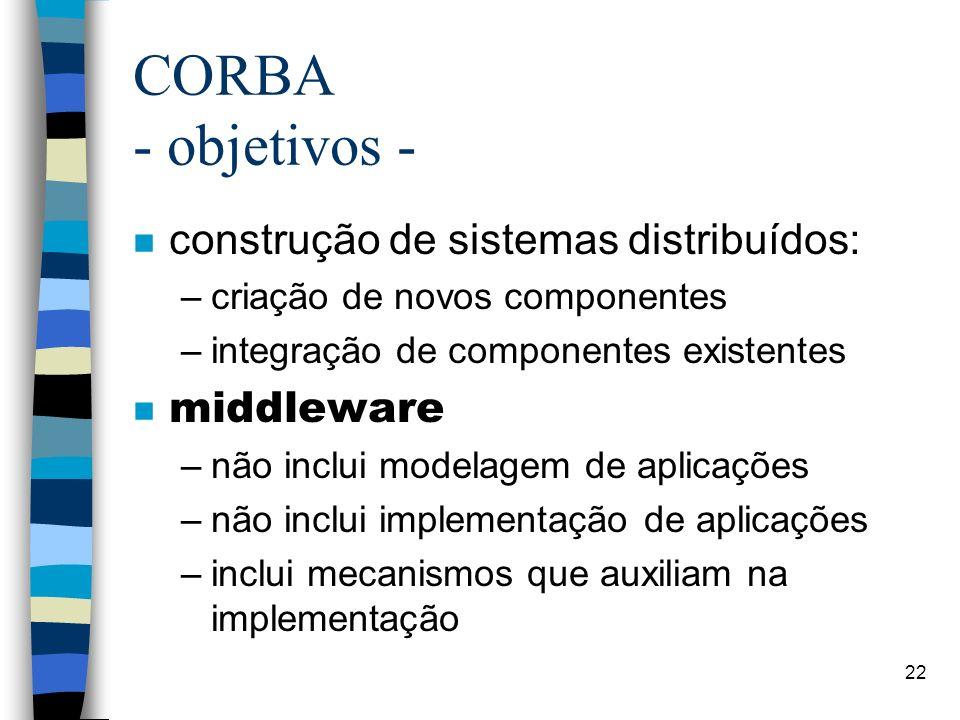 22 CORBA - objetivos - n construção de sistemas distribuídos: –criação de novos componentes –integração de componentes existentes middleware –não inclui modelagem de aplicações –não inclui implementação de aplicações –inclui mecanismos que auxiliam na implementação
