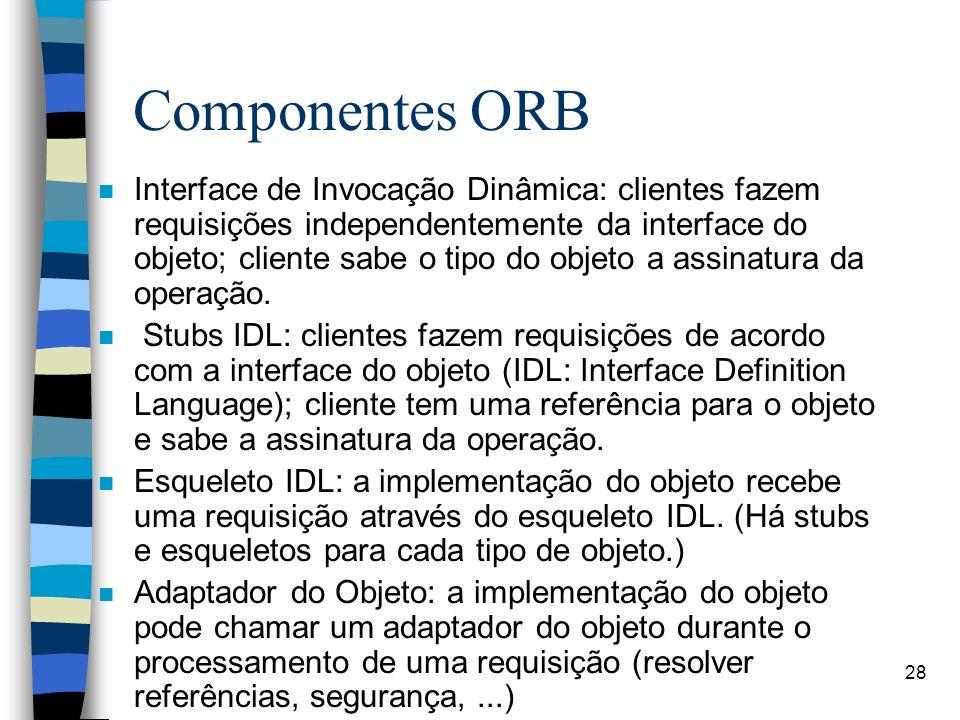 28 Componentes ORB n Interface de Invocação Dinâmica: clientes fazem requisições independentemente da interface do objeto; cliente sabe o tipo do objeto a assinatura da operação.