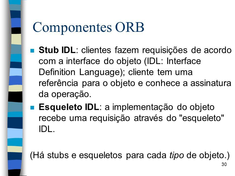 30 Componentes ORB n Stub IDL: clientes fazem requisições de acordo com a interface do objeto (IDL: Interface Definition Language); cliente tem uma referência para o objeto e conhece a assinatura da operação.