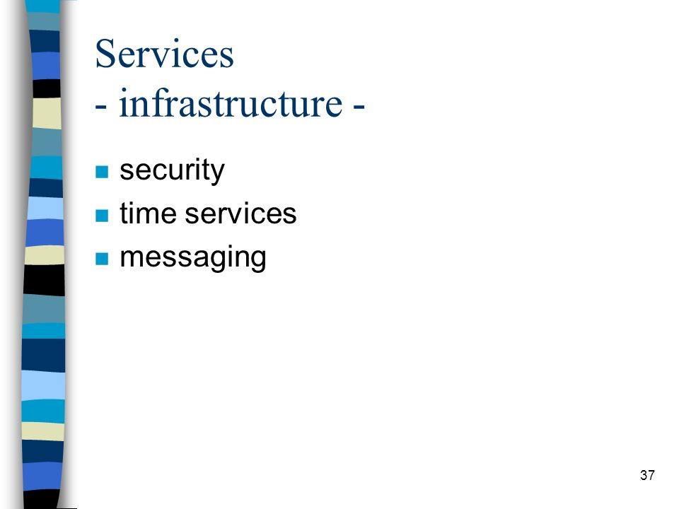 37 Services - infrastructure - n security n time services n messaging