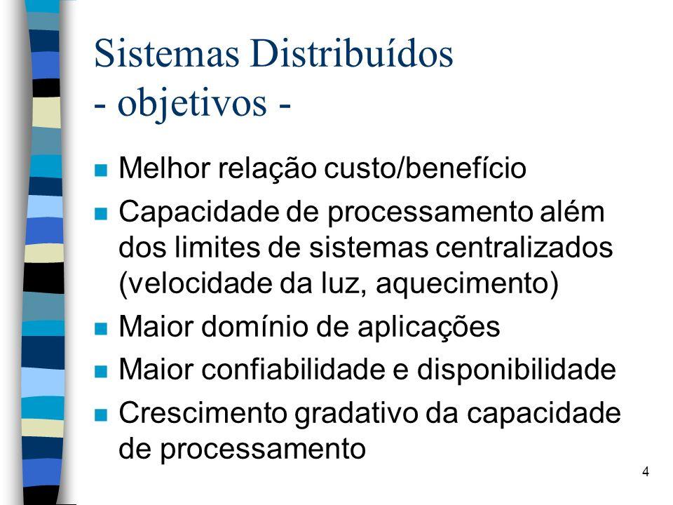 4 Sistemas Distribuídos - objetivos - n Melhor relação custo/benefício n Capacidade de processamento além dos limites de sistemas centralizados (velocidade da luz, aquecimento) n Maior domínio de aplicações n Maior confiabilidade e disponibilidade n Crescimento gradativo da capacidade de processamento