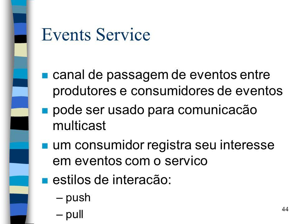 44 Events Service n canal de passagem de eventos entre produtores e consumidores de eventos n pode ser usado para comunicacão multicast n um consumidor registra seu interesse em eventos com o servico n estilos de interacão: –push –pull