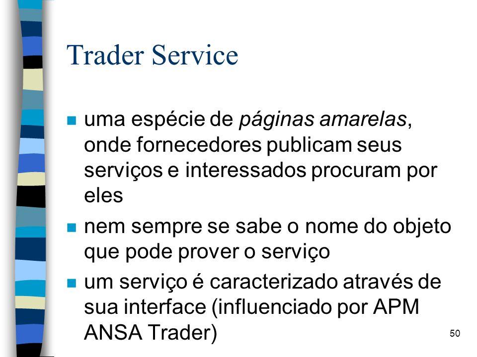 50 Trader Service n uma espécie de páginas amarelas, onde fornecedores publicam seus serviços e interessados procuram por eles n nem sempre se sabe o nome do objeto que pode prover o serviço n um serviço é caracterizado através de sua interface (influenciado por APM ANSA Trader)