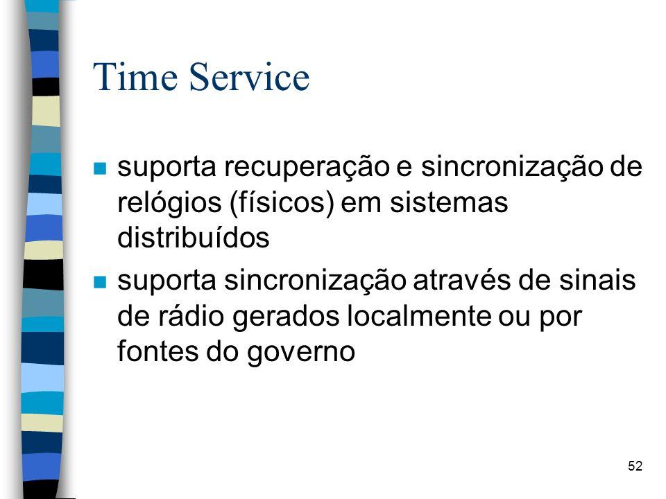 52 Time Service n suporta recuperação e sincronização de relógios (físicos) em sistemas distribuídos n suporta sincronização através de sinais de rádio gerados localmente ou por fontes do governo