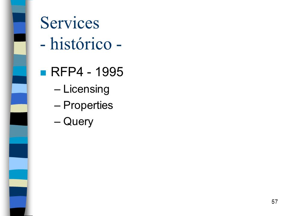 57 Services - histórico - n RFP4 - 1995 –Licensing –Properties –Query