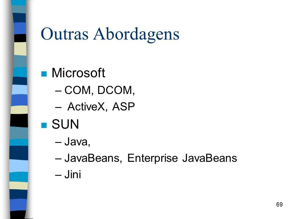 69 Outras Abordagens n Microsoft –COM, DCOM, – ActiveX, ASP n SUN –Java, –JavaBeans, Enterprise JavaBeans –Jini