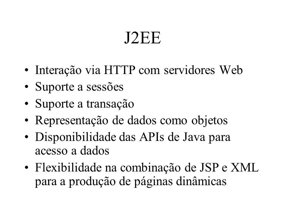J2EE Interação via HTTP com servidores Web Suporte a sessões Suporte a transação Representação de dados como objetos Disponibilidade das APIs de Java para acesso a dados Flexibilidade na combinação de JSP e XML para a produção de páginas dinâmicas