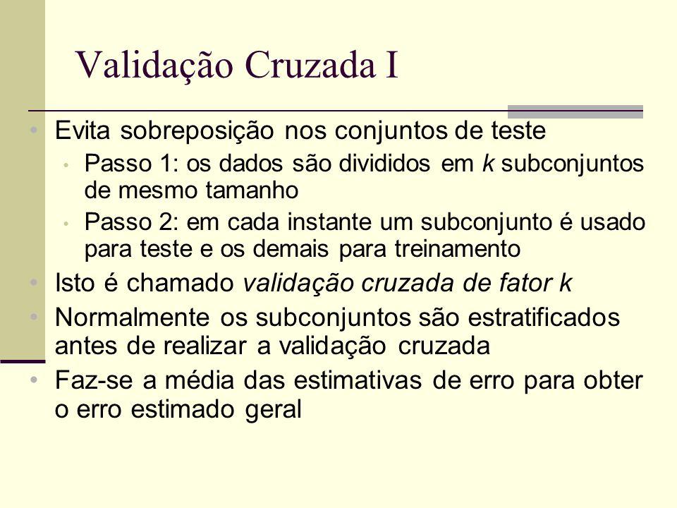 Validação Cruzada I Evita sobreposição nos conjuntos de teste Passo 1: os dados são divididos em k subconjuntos de mesmo tamanho Passo 2: em cada inst