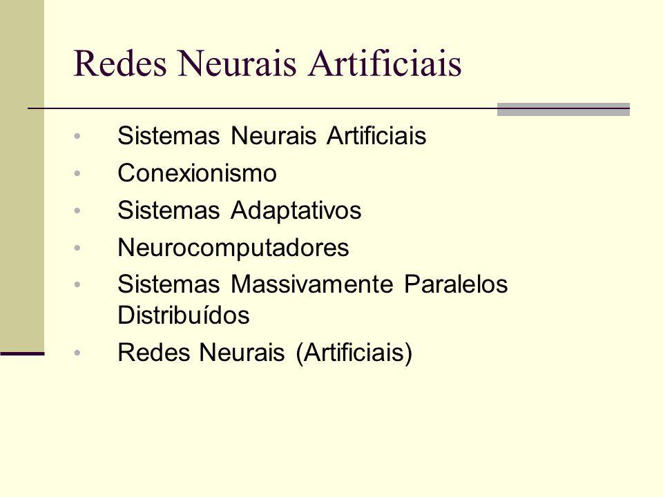 Redes Neurais Artificiais Sistemas Neurais Artificiais Conexionismo Sistemas Adaptativos Neurocomputadores Sistemas Massivamente Paralelos Distribuído