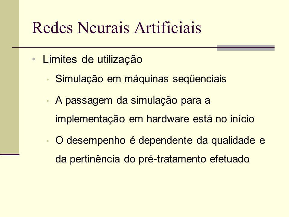 Redes Neurais Artificiais Limites de utilização Simulação em máquinas seqüenciais A passagem da simulação para a implementação em hardware está no iní