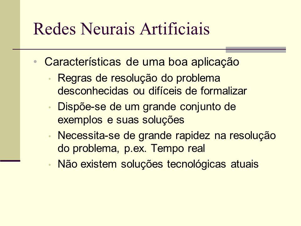 Redes Neurais Artificiais Características de uma boa aplicação Regras de resolução do problema desconhecidas ou difíceis de formalizar Dispõe-se de um