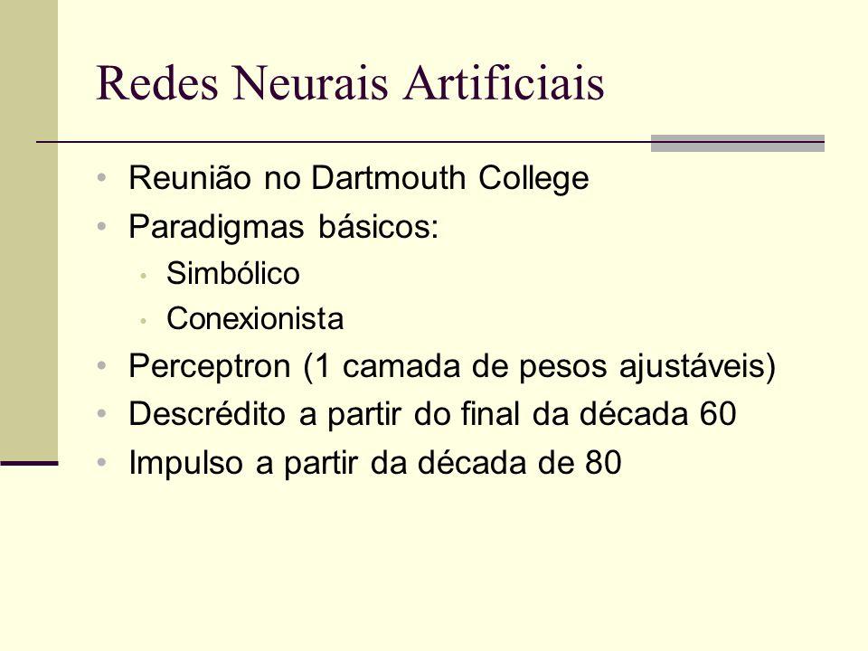 Redes Neurais Artificiais Reunião no Dartmouth College Paradigmas básicos: Simbólico Conexionista Perceptron (1 camada de pesos ajustáveis) Descrédito