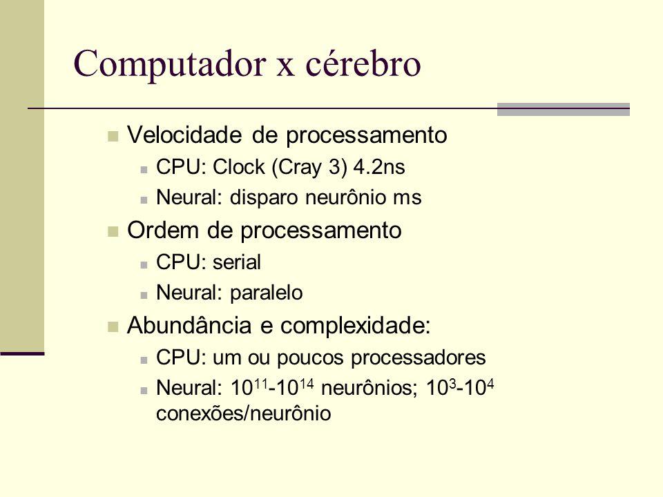 Computador x cérebro Velocidade de processamento CPU: Clock (Cray 3) 4.2ns Neural: disparo neurônio ms Ordem de processamento CPU: serial Neural: para