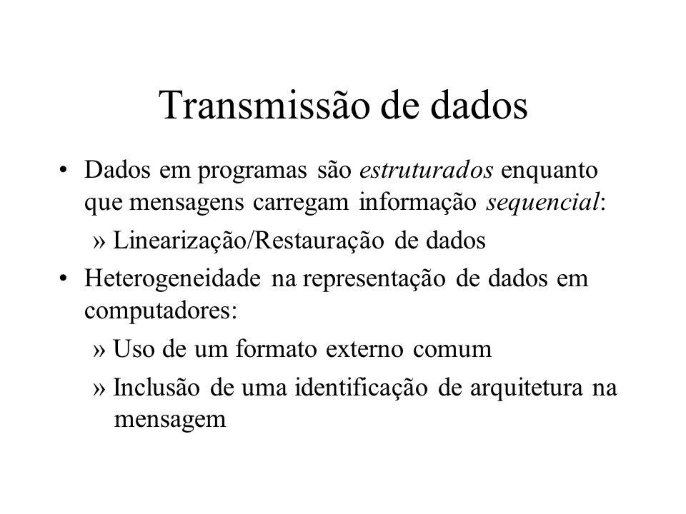 Transmissão de dados Dados em programas são estruturados enquanto que mensagens carregam informação sequencial: » Linearização/Restauração de dados He