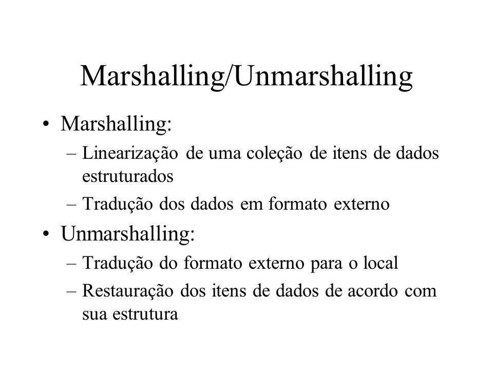 Marshalling/Unmarshalling Marshalling: –Linearização de uma coleção de itens de dados estruturados –Tradução dos dados em formato externo Unmarshallin