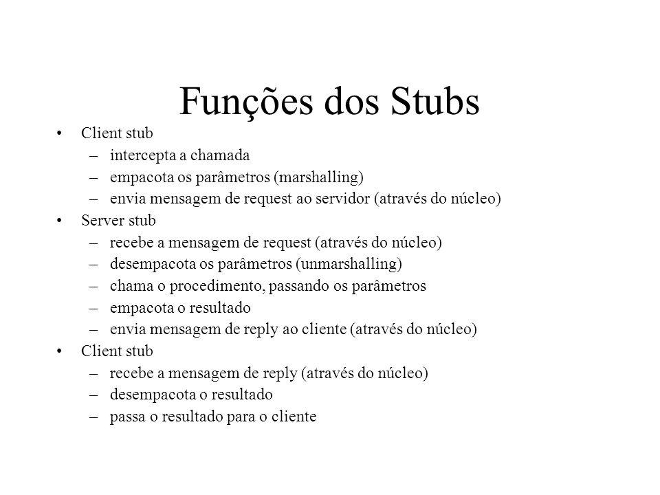 Funções dos Stubs Client stub –intercepta a chamada –empacota os parâmetros (marshalling) –envia mensagem de request ao servidor (através do núcleo) S