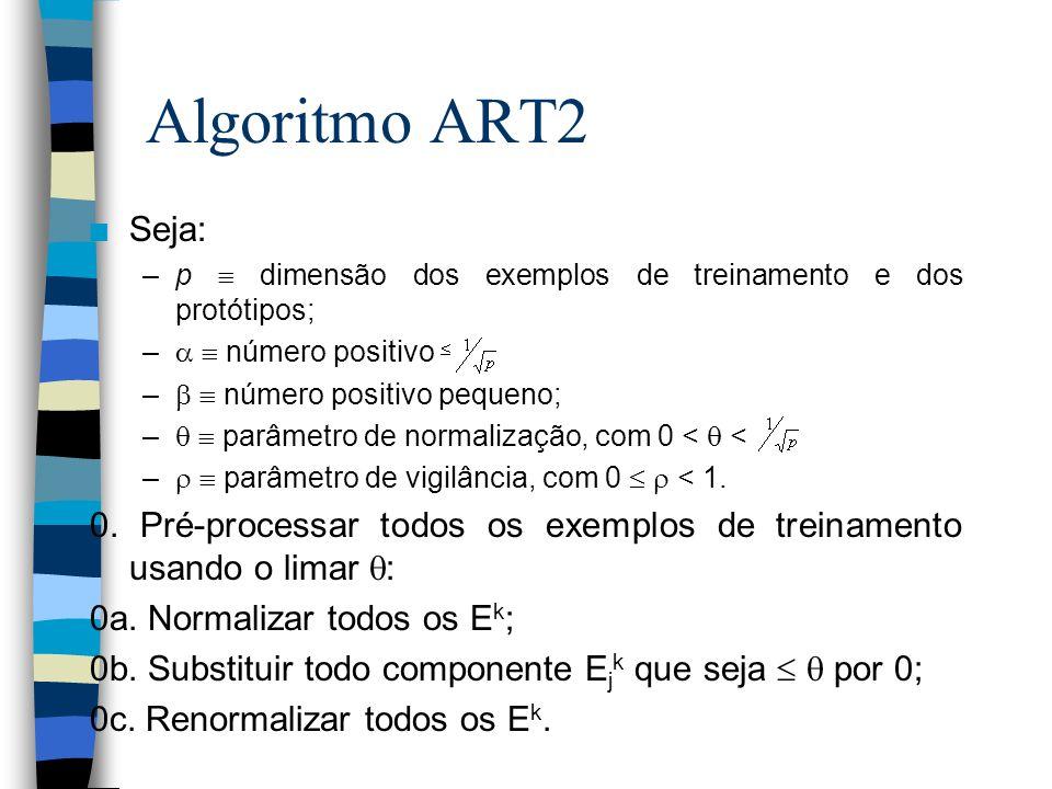 Algoritmo ART2 n Seja: –p dimensão dos exemplos de treinamento e dos protótipos; – número positivo – número positivo pequeno; – parâmetro de normaliza