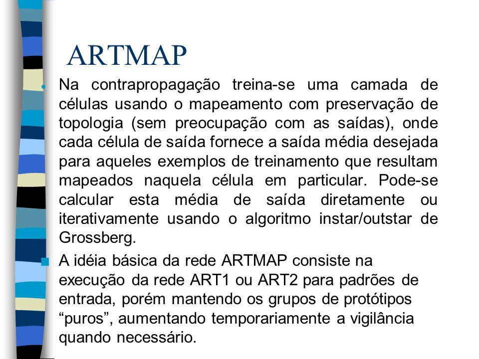 ARTMAP Na contrapropagação treina-se uma camada de células usando o mapeamento com preservação de topologia (sem preocupação com as saídas), onde cada