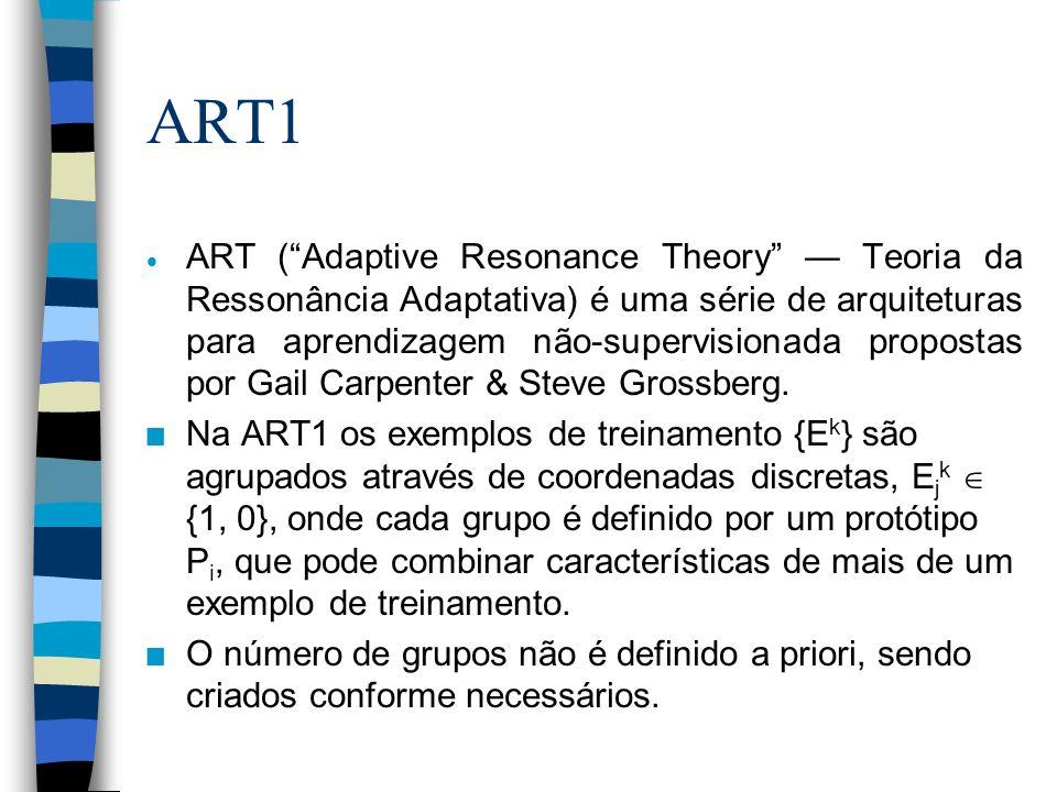ART1 As redes ART permitem que um exemplo de treinamento modifique um agrupamento somente se o grupo estiver suficientemente próximo do exemplo de treinamento; caso contrário um novo grupo é criado.