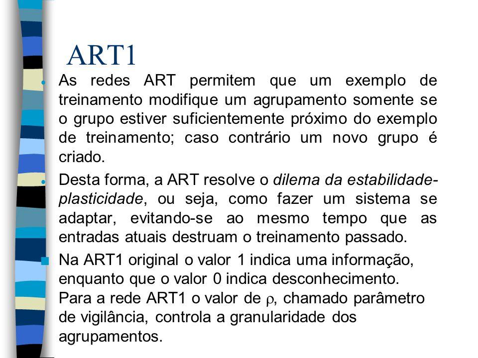 ART1 As redes ART permitem que um exemplo de treinamento modifique um agrupamento somente se o grupo estiver suficientemente próximo do exemplo de tre