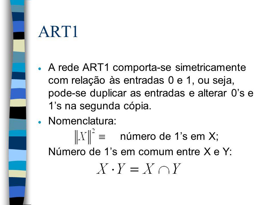 Algoritmo ART1 Seja: n pequeno número positivo; n p dimensão dos exemplos de treinamento e protótipos; n parâmetro de vigilância, com 0 1.